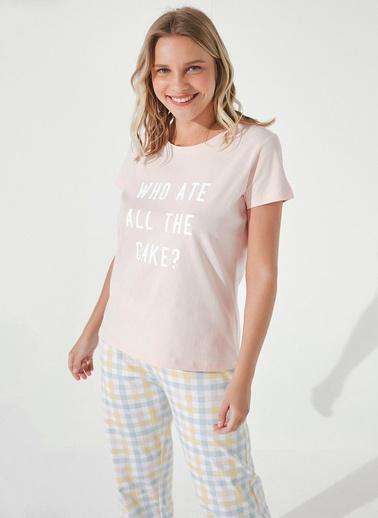 Penti Slogan Cake Pantolon Takımı  Kadın  Pijama Takımı  Ana Kumaş Cotton 100,00   Pembe